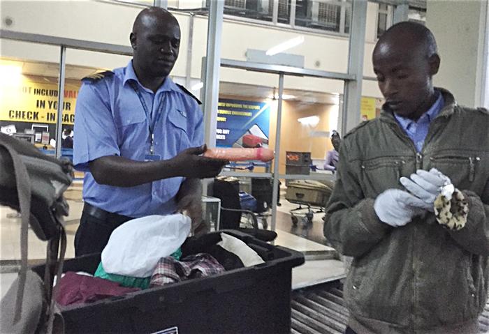 Ugandan officials finds dildo leopard fur handcuffs